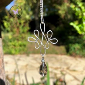 Celtic Smokey Quartz Silver Wire Wrapped Pendant